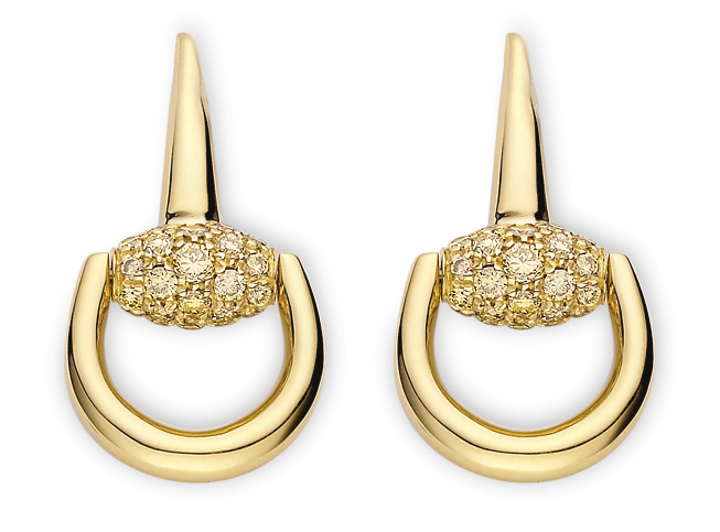 Gucci - Pendientes Horsebit oro amarillo 18K
