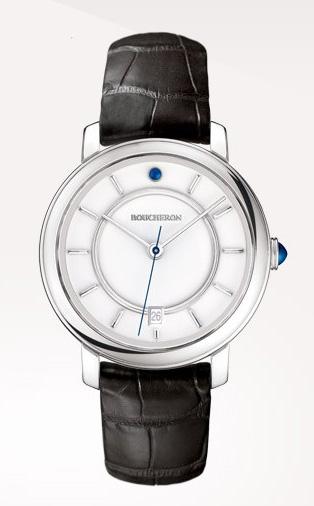 Epure - Reloj en oro blanco, gemas, con esfera blanca lacada y con fecha.