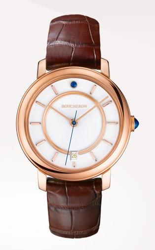 Epure - Reloj en oro rosa, gemas, con esfera blanca lacada y con fecha.