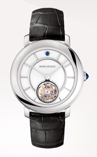 Epure Tourbillon: Reloj en oro blanco, gemas y esfera blanca lacada