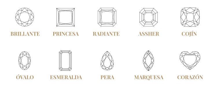 tallas de los diamantes