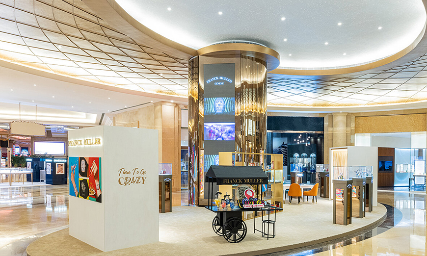 Interior de la exhibición de Franck Muller en Macao